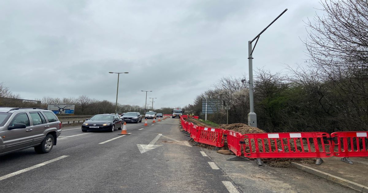 roadworks M40 roundabout March